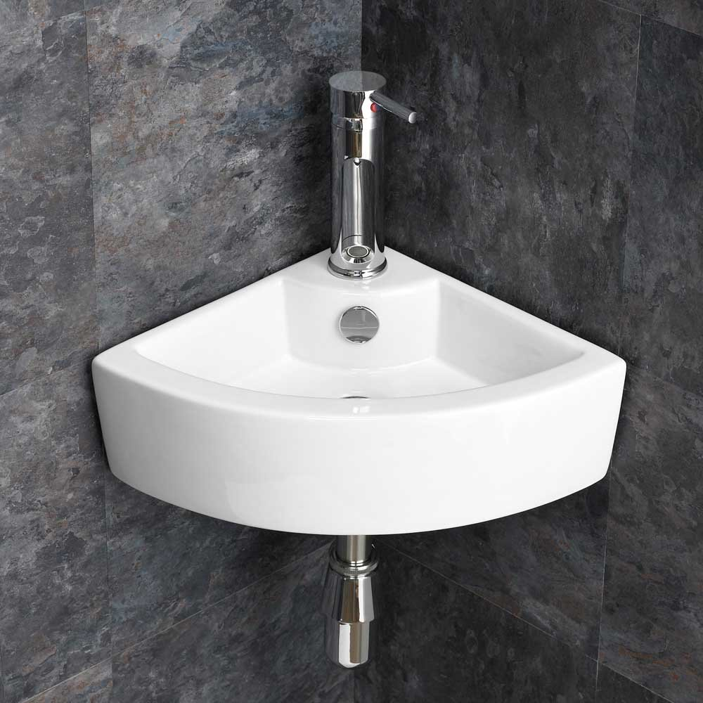 Clickbasin Compact Olbia Small Corner Wall Mounted Ceramic Wash Basin, Tap And Waste Set