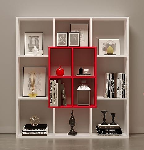 Scaffali Per Libri Design.Homidea Mars Libreria Scaffale Per Libri Scaffale Per Ufficio Soggiorno Dal Design Moderno Bianco Rosso