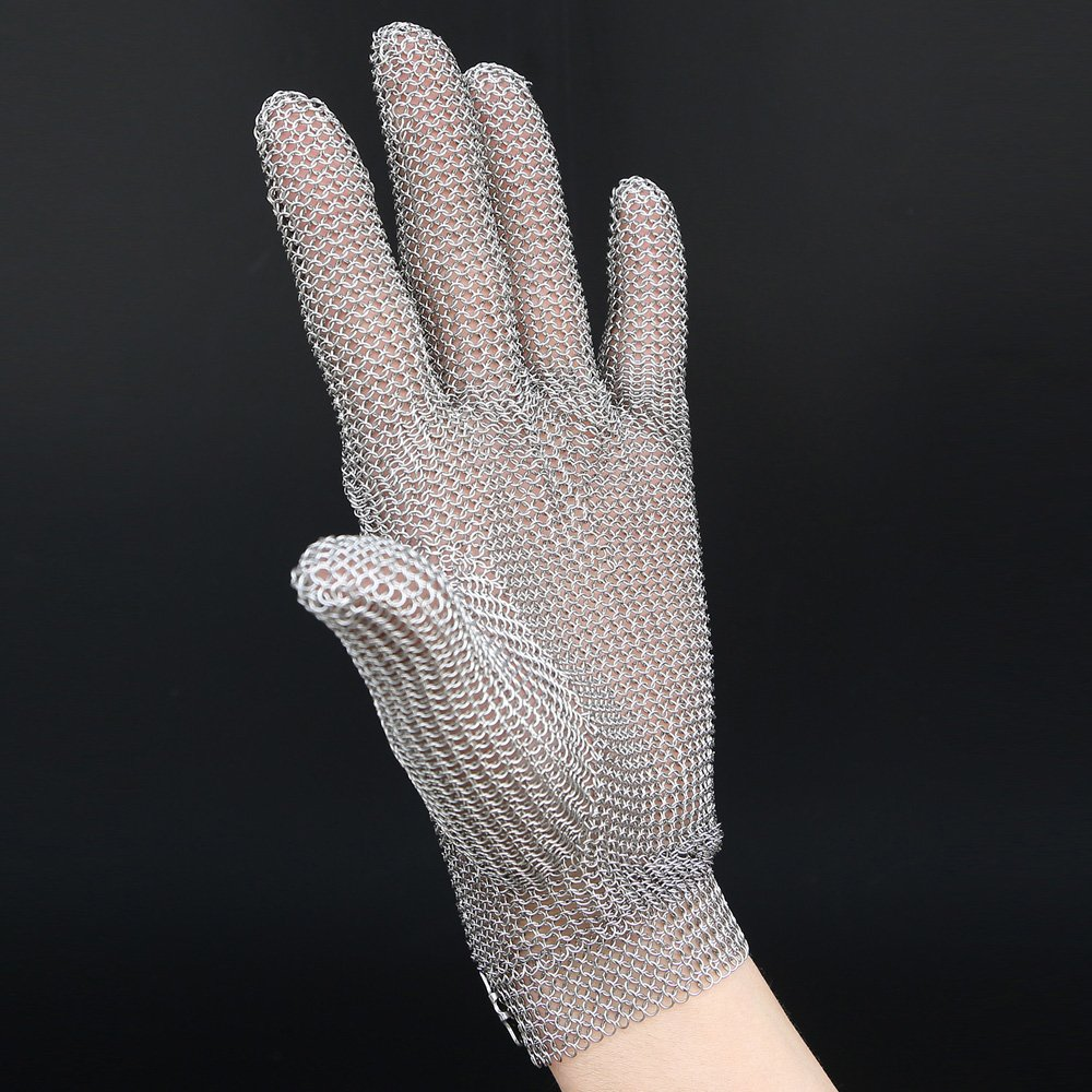 Anself Stainless Steel Mesh Knife Cut Resistant Chain Mail Protective Glove for Kitchen Butcher Working Safety (M) by Anself (Image #5)