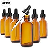 Yesker Amber Glass Bottles (Pack of 6) for Essential Oils with Glass Eye Dropper, 2 Ounce Capacity