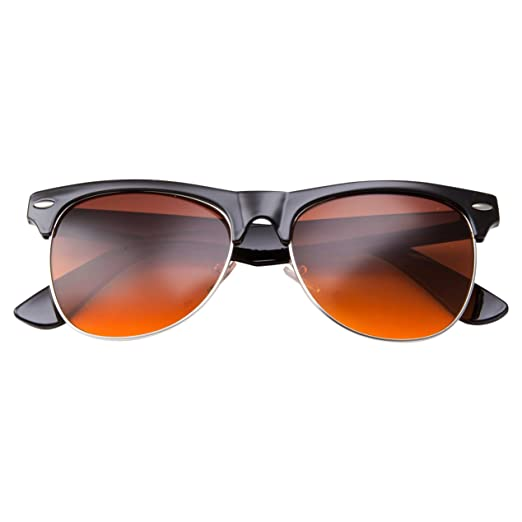 e19d9df4a8 Amazon.com  Blue Blocking Driving Sunglasses Yellow Tint Spring Hinge Brow  Line (Black)  Clothing