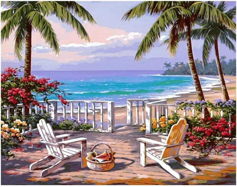 Pintura al óleo de DIY al óleo Pintura de Bricolaje Lienzo Tumbona jardín Vista al mar-Wood Frame