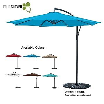 Amazoncom FOUR CLOVER 10 Ft Patio Umbrella Offset Hanging