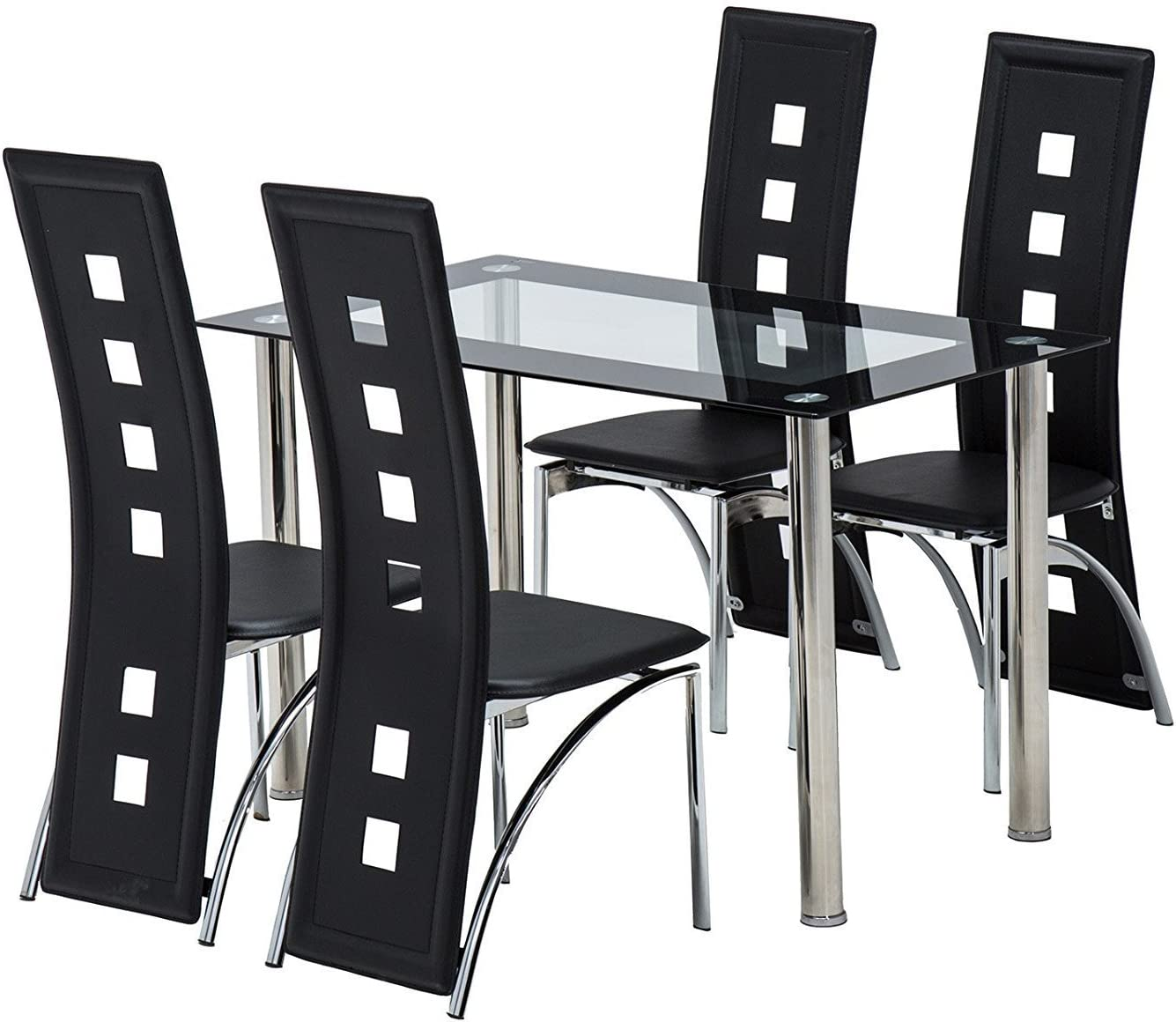 5 Piece Dining Table Set Glass Top Table and 4 Dining Chairs Kitchen Room Breakfast Furniture Black Dining Table Set