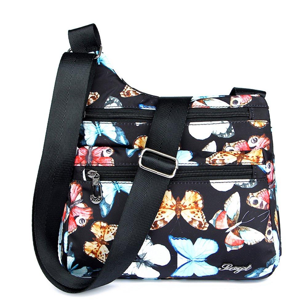 Mynos Women Crossbody Bag Nylon Floral Purse and Handbags Zipper Pockets Travel Shoulder Bag Ladies (Butterfly)