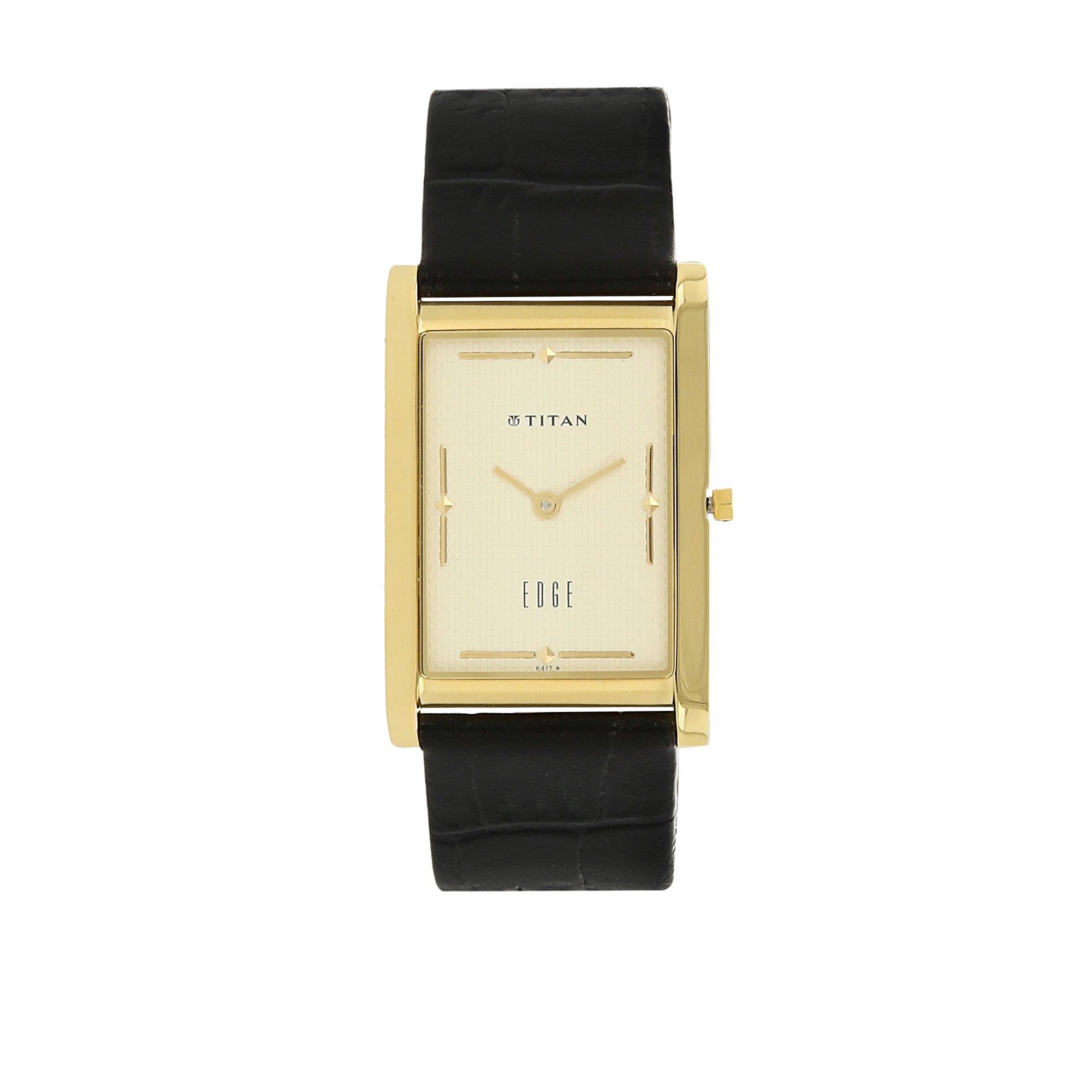 Titan Men's Edge Mineral Quartz Glass Slim Analog Wrist Watch- Ultra Slim with Metal/ Leather Strap