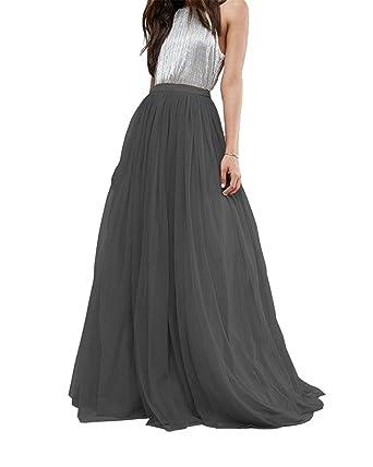 e383b09d3 Women Wedding Long Tulle Skirt Dress Bridal Bridesmaids Floor Length High  Waisted Maxi Tutu Party Dress