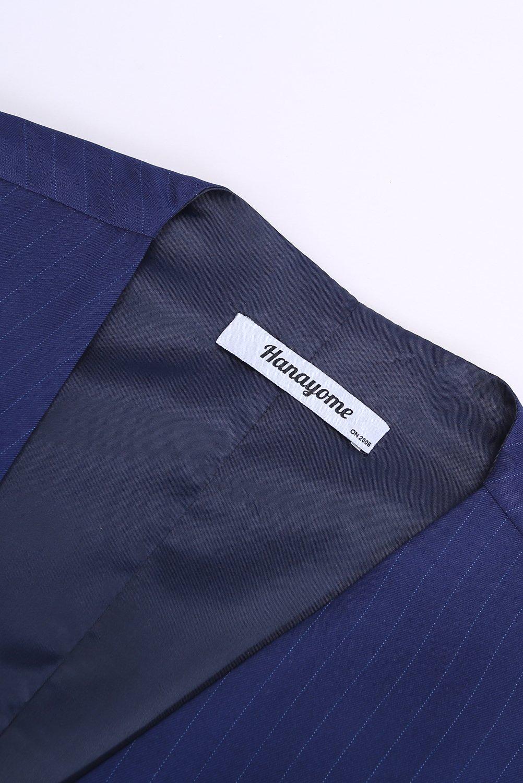 CMDC Men's 3 Pieces Business Suits Slim Fit Stripe Blazer Jacket Vest Pants Set SI137 (Blue,40) by CMDC (Image #3)