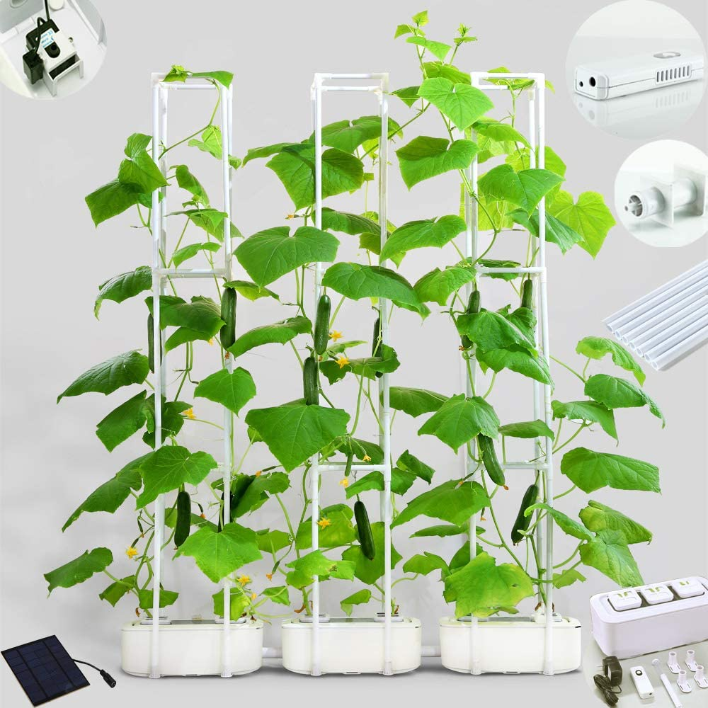 "Big Smart Hydroponics Growing System Dual Power Indoor Garden kit for Big Climbing Vegetables with Built-in Pump and Smart Reminder Plus 60"" Climbing Trellis Super Indoor Hydroponics Growing System"