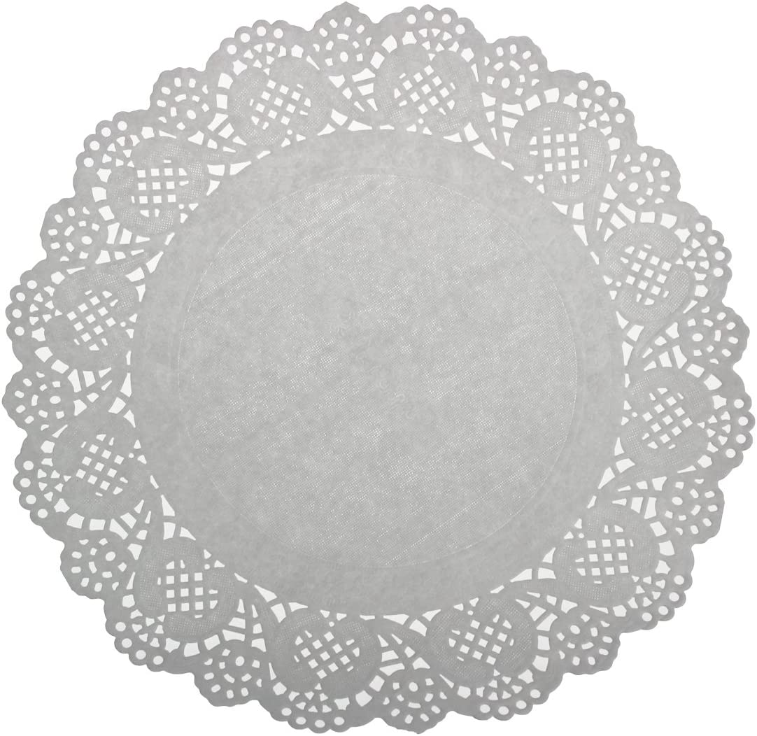 LJY 120 Pieces White Lace Round Paper Doilies Cake Packaging Pads Wedding Tableware Decoration 240mm