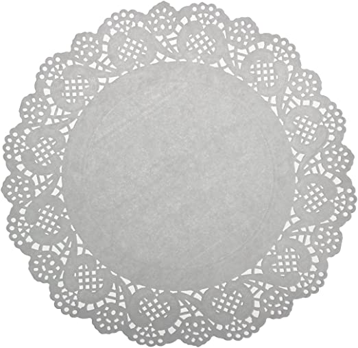 "200pcs 9.5/"" Round Pink w//White Polka Dot Design Paper Cake Decoration Doilies"