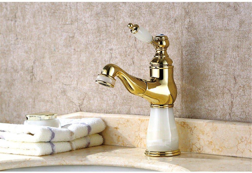 ETERNAL QUALITY Badezimmer Waschbecken Wasserhahn Messing Hahn Waschraum Mischer Mischbatterie Tippen Sie auf Antiken einfach voll Kupfer Jade heiße und kalte Waschbecken
