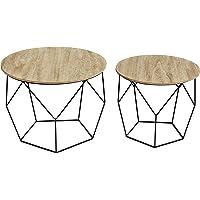 LIFA LIVING Jeu de 2 Tables d'appoint Rondes | Table d'appoint gigogne Style Vintage | Table Basse géométrique et Bois et métal Noir