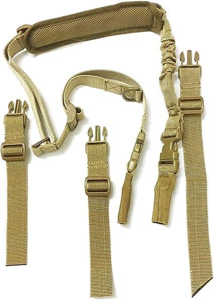 ZSGS06 Sangles tactiques multifonction Tendeurs r/églables de fusil Airsoft avec coussinets d/'/épaule en coton Un point ou deux points Fuwok