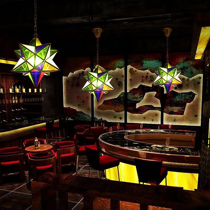 Araña de Bronce Lámpara Americana Retro Molecular Hierro Arte Color Vidrio Arte Sala Restaurante Restaurante Forma geométrica Diamante: Amazon.es: Hogar