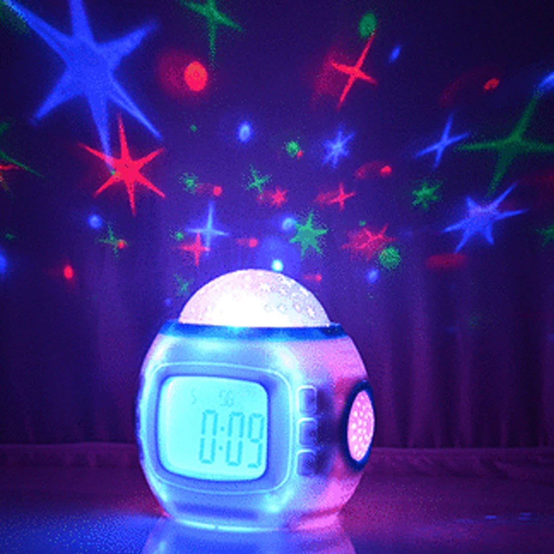 Sinweda Sky Star Night Light Projector Lamp Bedroom Alarm Clock with Music Backlight Calendar Thermometer for Children Kids Birthday Gift