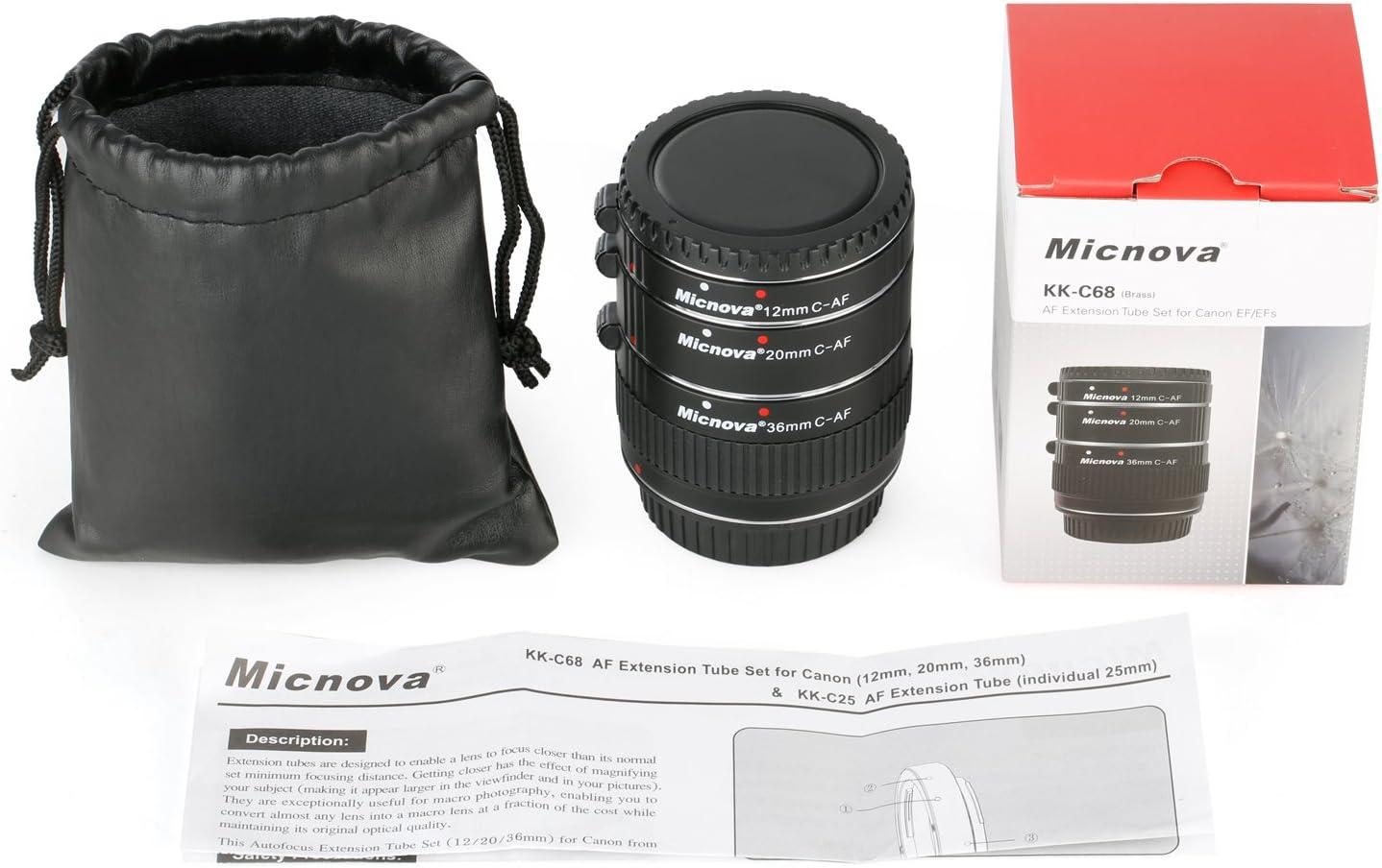 Micnova KK-C68 Pro Auto Focus Macro Extension Tube Set for Canon EOS EF /& EF-S Mount 5D2 5D3 6D 650D 750D Film Cameras Macro Lens Tube Extension for Canon DSLR 12mm 20mm and 36mm Tubes