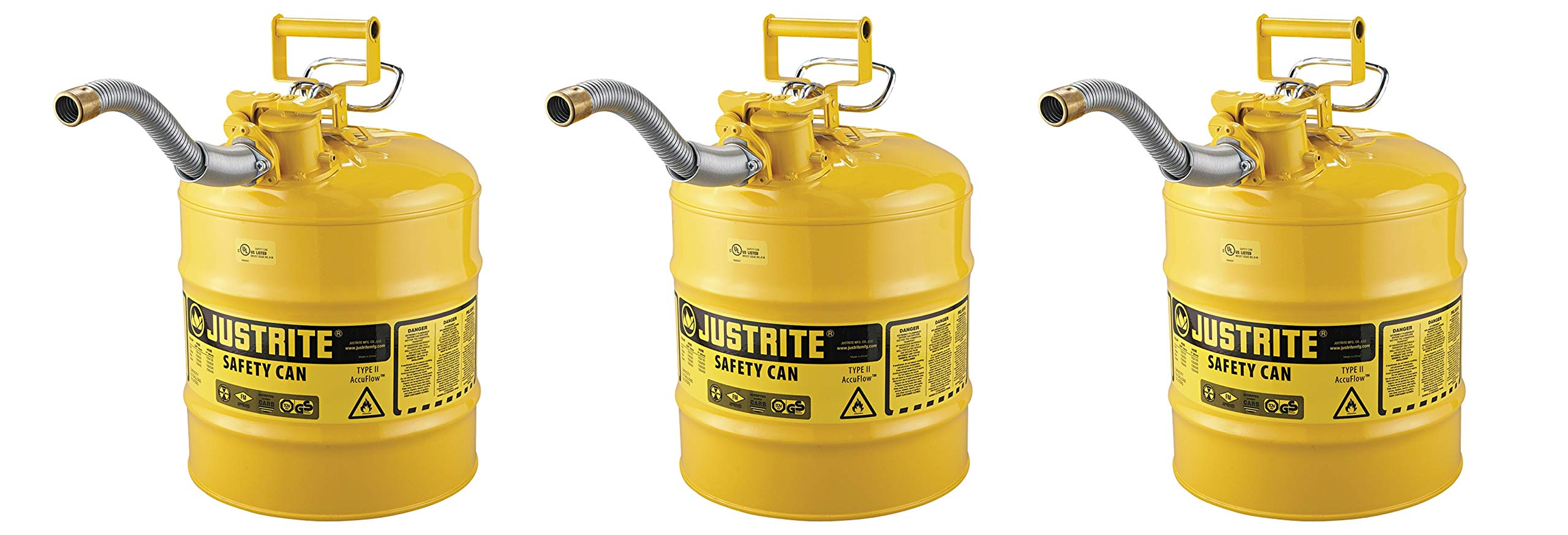 Justrite 7250230 AccuFlow 5 Gallon, 11.75'' OD x 17.50'' H Galvanized Steel Type II Yellow Safety Can With 1'' Flexible Spout (3-(Pack))