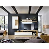 brinkmann luxus wohnwand kernbuche echtholz furnier wei hochglanz k che. Black Bedroom Furniture Sets. Home Design Ideas