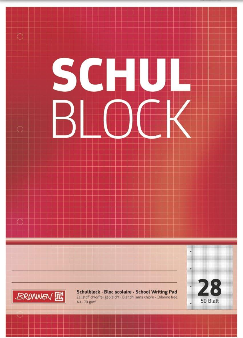 Brunnen 1052528 Schulblock//Notizblock A4, 50 Blatt, kariert, mit Randlinien, Lineatur 28, gelocht, kopfverleimt, 70 g//m/² 5