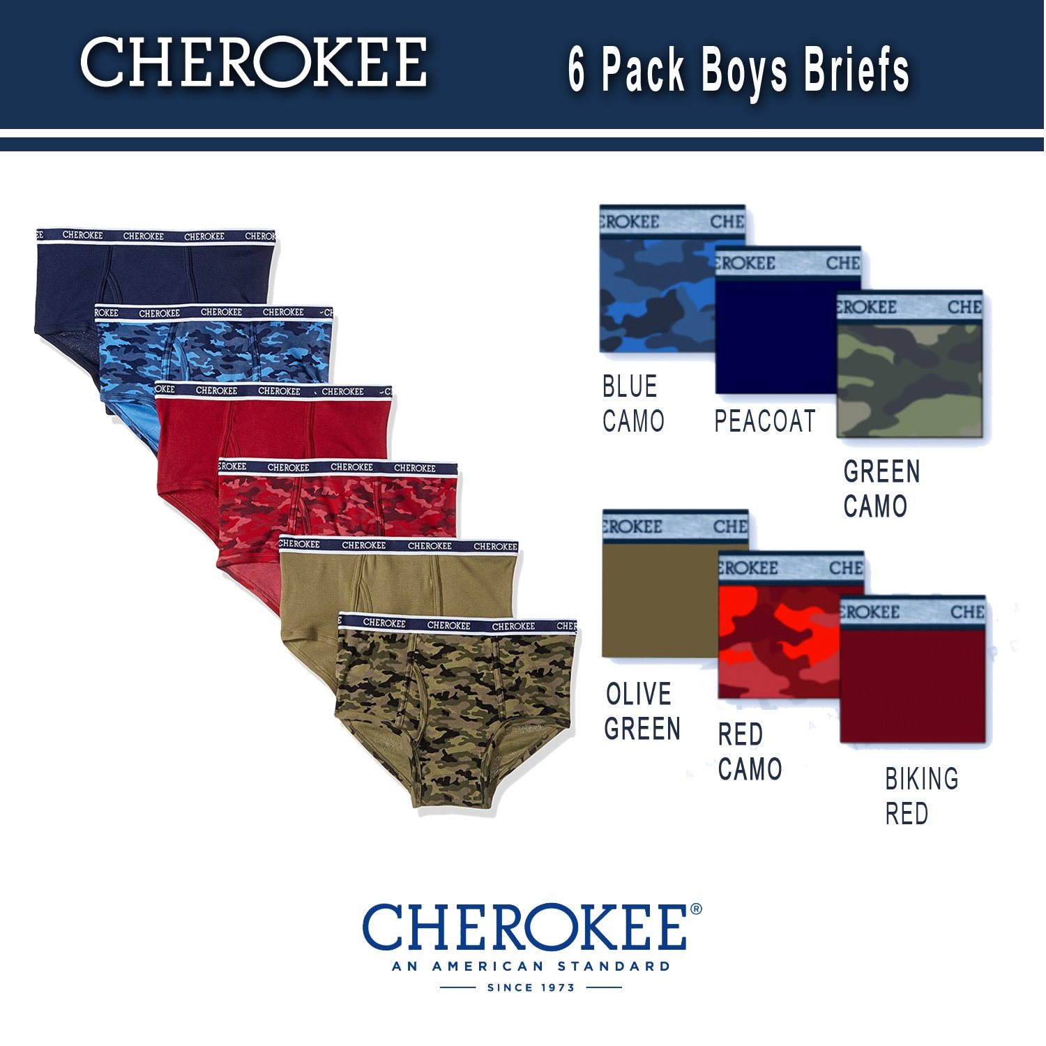 Cherokee Little Boys 6 Pack Brief, Camo/Solid Print Pack, XL by Cherokee (Image #1)