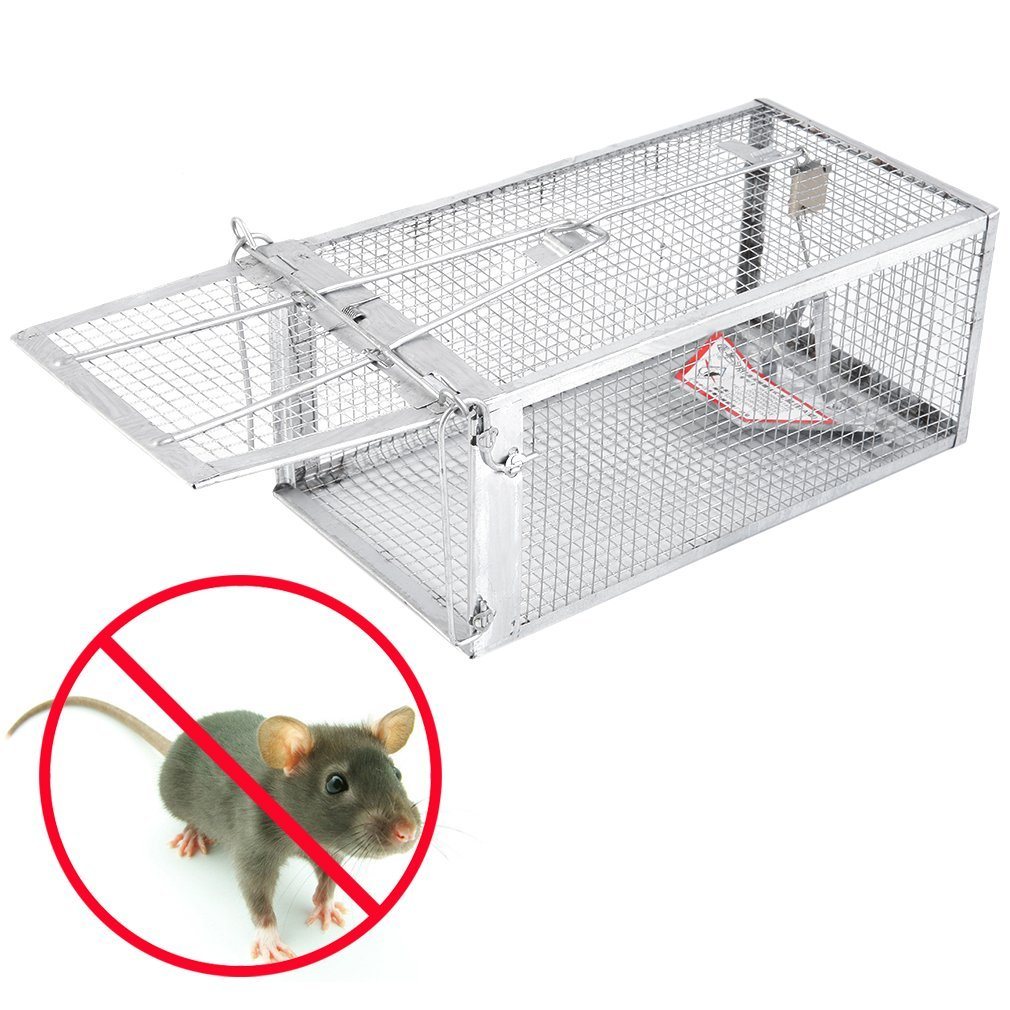 Live Animal Trap 11'' X 6'' X 5'' Catch Release Cage for Small Rodent Humane One Door Live Animal Trap for Catching Squirrels, Chipmunks, Rats, Weasels