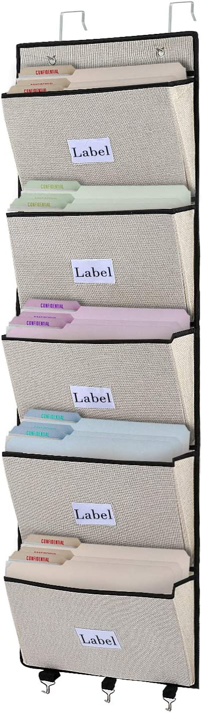 Over The Door File Organizer, Office Hanging Wall File Holder with 5 Large Pockets for Magazine, Notebooks, Mails, Document, Easy Organizing (Beige)