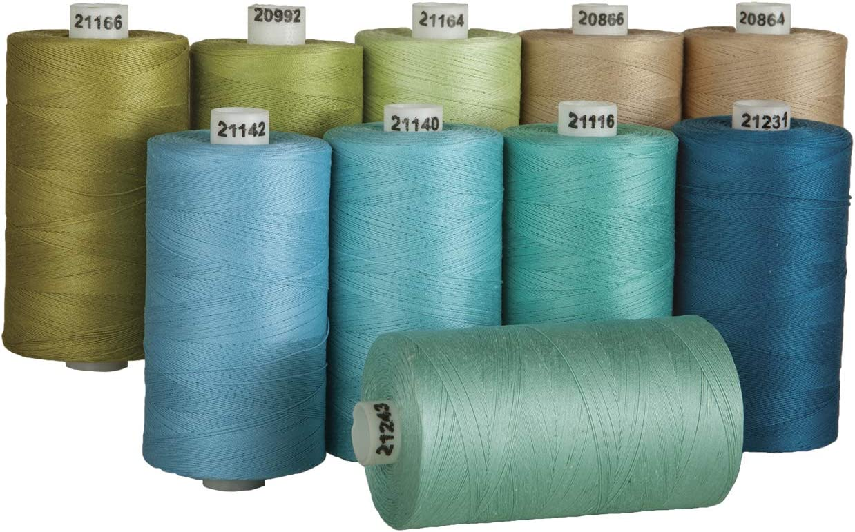 Set of 10 - Cream 1200 Yard Spools Connecting Threads 100/% Cotton Thread Sets