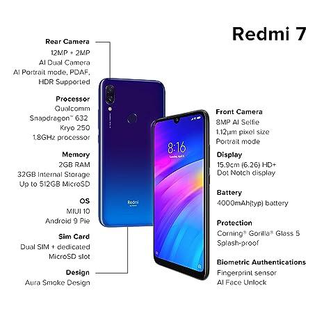 Redmi 7 (Comet Blue, 2GB RAM, 32GB Storage)