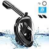 YUDER Full Face Snorkeling Mask with Camera Mount 180°Panoramic Snorkel Mask with Anti-Fog,Anti-Leak Design for Beginners,Kids,Youth and Adults