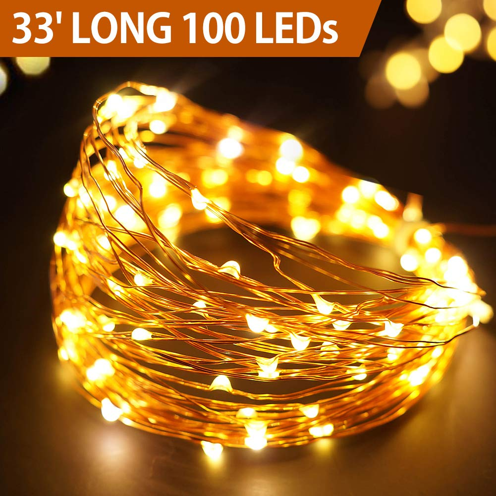 Bright Zeal 33' Long Warm White Copper Wire LED Fairy Lights Battery Operated with Timer Warm White LED Christmas String Lights Brown Wire Outdoor Waterproof Christmas Tree Lights LED Warm White