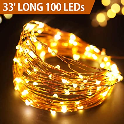 Bright Zeal 33' Long Warm White Copper Wire LED Fairy Lights Battery  Operated with Timer - Amazon.com : Bright Zeal 33' Long Warm White Copper Wire LED Fairy