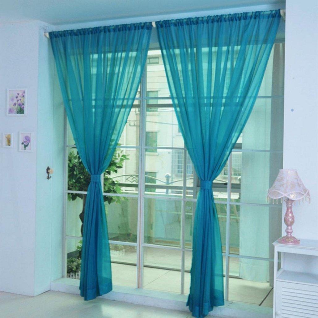 Drape Pure Color Tulle Door Window Curtain,Voile Curtain Scarf ,Tuscom (B, 2x1M)