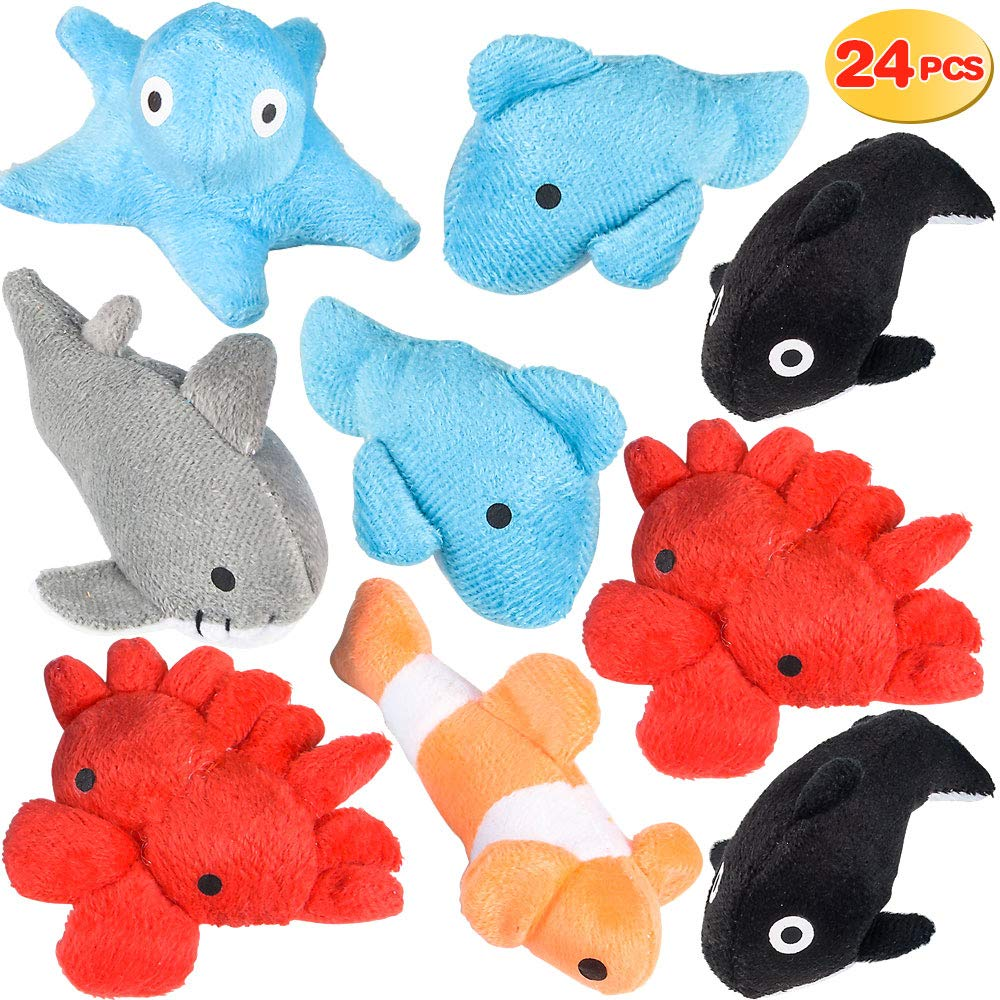 """Plush Sea Animals for Kids - (Pack of 24) 3"""" Mini Stuffed Animal Toys 