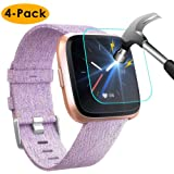NANW [4-Pack] Screen Protector Compatible with Fitbit Versa/Versa Lite Edition Smartwatch (Not for Versa 2), Tempered…