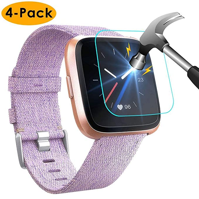 NANW [4-Pack] Screen Protector Compatible with Fitbit Versa / Versa Lite Edition Smartwatch (Not for Versa 2), Tempered Glass Waterproof Screen Glass ...