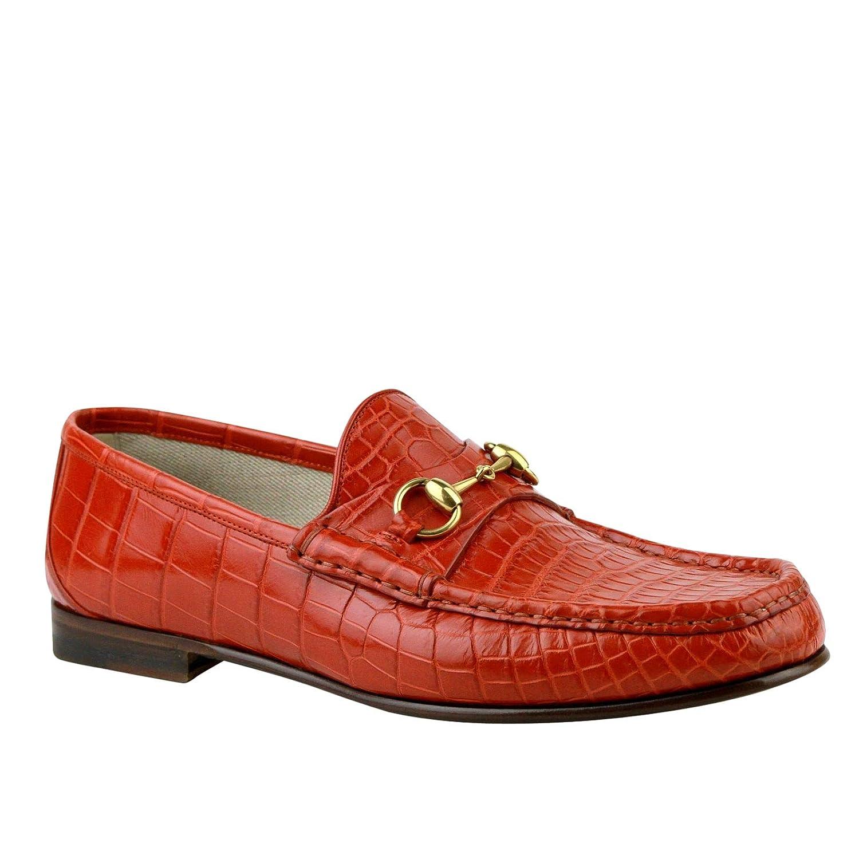 617e6f655b1 Amazon.com  Gucci Gold Horsebit Red Orange Crocodile Leather Loafer Shoes  307929 6432 (10 G   10.5 US)  Shoes
