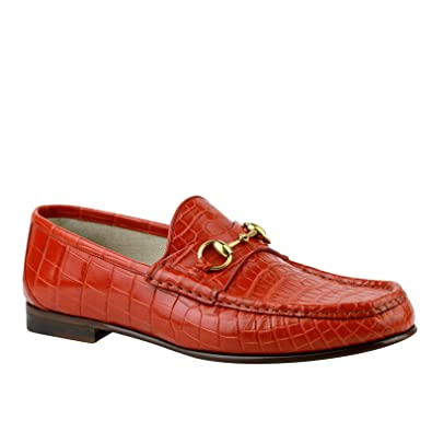 3ebf1ce03490f7 Image Unavailable. Image not available for. Color  Gucci Gold Horsebit Red  Orange Crocodile Leather Loafer Shoes ...
