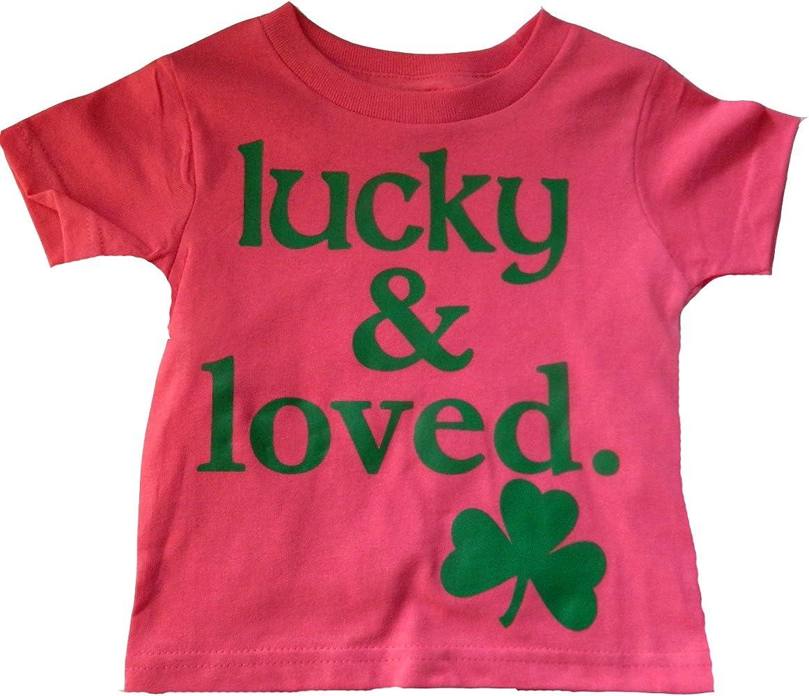 5afb0d2738ad Amazon.com: Custom Kingdom Big Girls Lucky and Loved Irish Shamrock T-Shirt  Pink (Large 14/16): Clothing