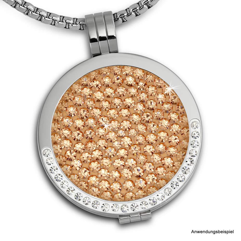 pendentif pour colliers Amello bijoux en acier inoxydable Coin Medaillion Coin Keeper couleur acier avec zircon blanc ESC002W Amello pendentif en acier inoxydable