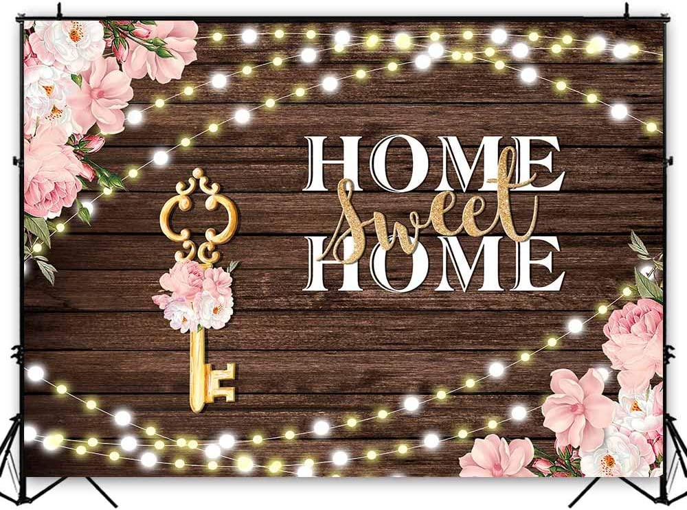 Funnytree 7x5ft Rustic Housewarming Theme Party Backdrop Home Sweet Home Wedding Bridal Shower Photography Background Key Wood Pink Floral Flowers Decor Cake Table Banner Photo Booth Studio