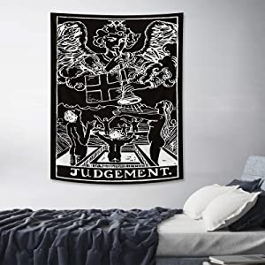 Tarot Tapestry Judgement Black Wall Tapestry Medieval Europe Wall Covering for Bedroom Living Room Home Dorm Decor Black 30x40in