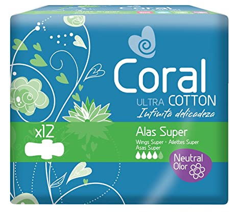 Coral Compresa Femenina Ultra Alas, Absorción Súper, de Algodón - 12 Compresas