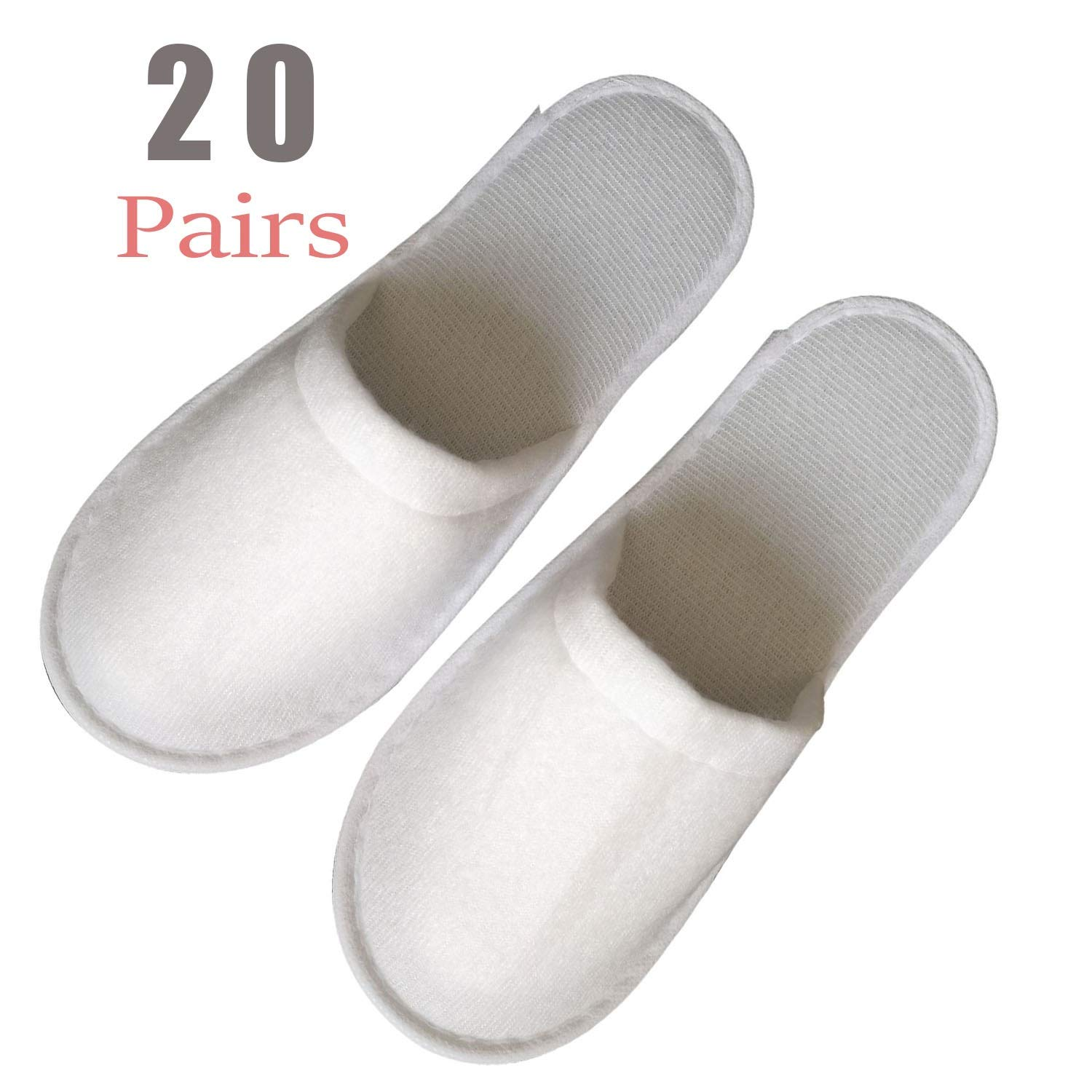 20 Pairs Slippers Women and Men Disposable Portable Hotel Disposable Closed Toe Pull Plush Spa Slippers Women's Comfort Slip Waffle Slippers Men Universal Size Spa-