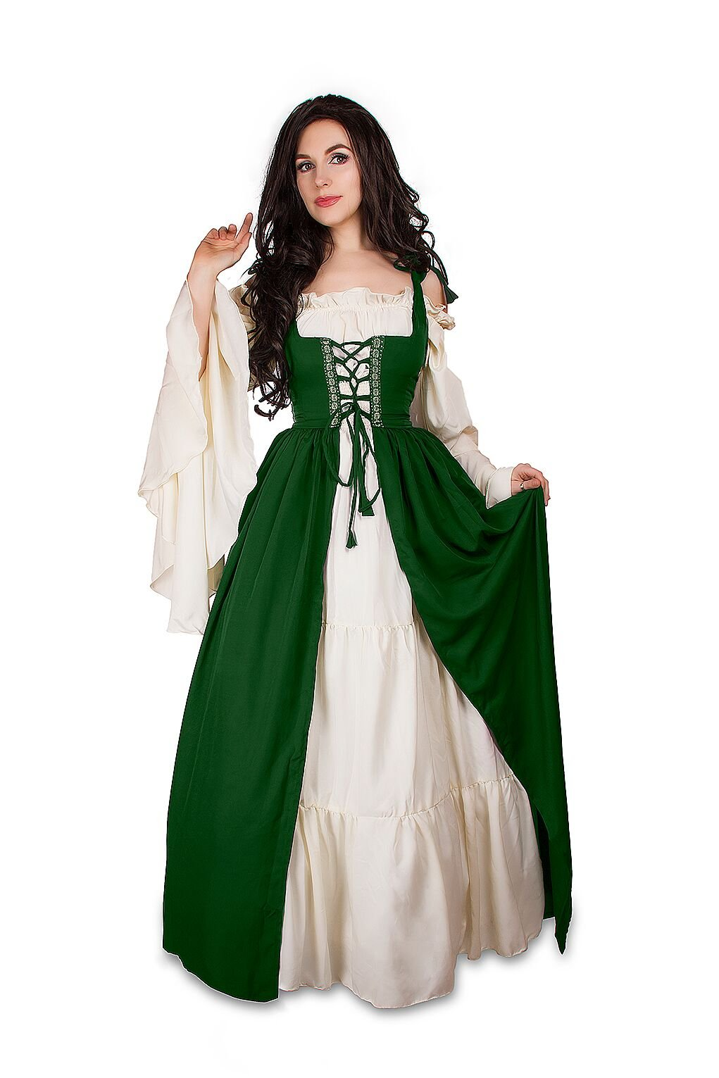 Renaissance Medieval Irish Costume Over Dress & Cream Chemise Set (S/M, Hunter Green) by Reminisce