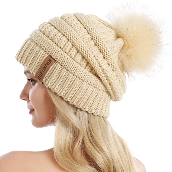 b7a563809 Queenfur Knit Slouchy Beanie for Women Thick Baggy Hat Faux Fur Pompom  Winter Hat