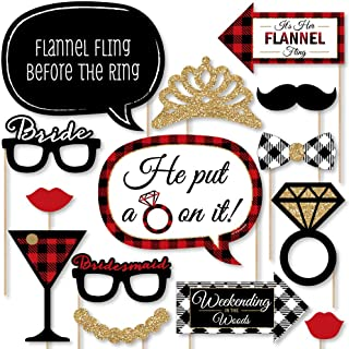 product image for Big Dot of Happiness Flannel Fling Before the Ring - Buffalo Plaid Bachelorette Party Photo Booth Props Kit - 20 Count