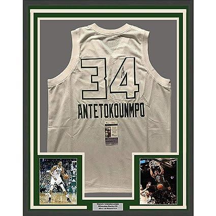 Framed Autographed Signed Giannis Antetokounmpo 33x42 Milwaukee White All- Star Basketball Jersey JSA COA 9315f116b