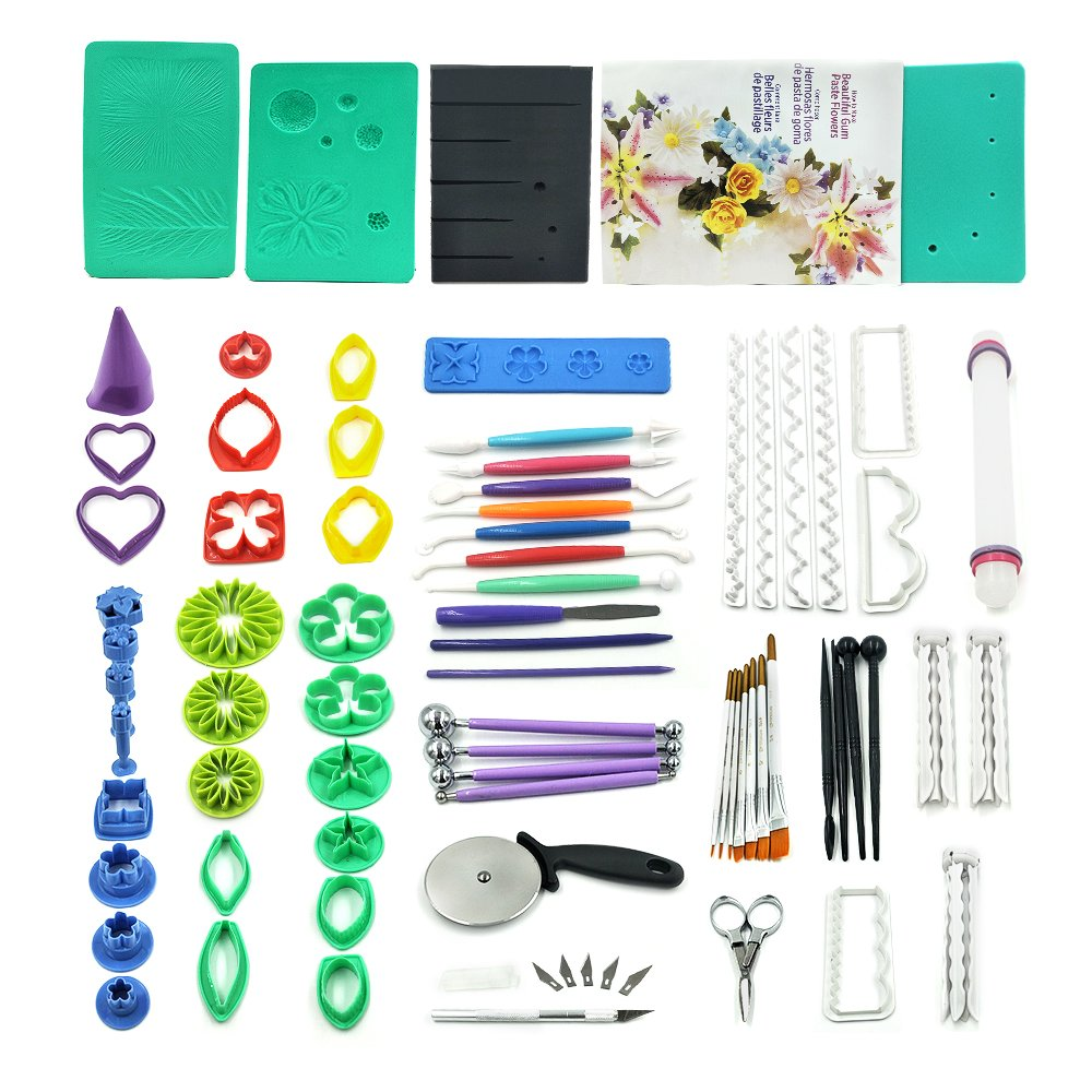 73pcs Gum Paste Flower & Leaf Tools Kit with 36 Flowers Cutter Set,2 Impression Mat,8 Modelling Tool,Baking Book,4 Ball Tools,3 Flowers Drying Rack,6 Filling Stick,7 brush,6 Set Cake Decorating Tools by kenman