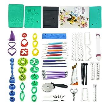 73pcs Kit de herramientas para pasta de goma flores y hojas con 36 Flores cortador Set